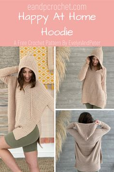 Happy At Home Hoodie Pattern - Evelyn And Peter Crochet - - The Happy At Home Hoodie is a FREE crochet pattern by Evelynandpeter. The oversized style flatters all body shapes and sizes! Crochet Hoodie, Crochet Cardigan, Crochet Shawl, Crochet Stitches, Knit Crochet, Crochet Vests, Crochet Sweaters, Crochet Tops, Crotchet