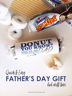 Let your kids get give dad DONUTS for Father's Day! A gift he will surely l… Let your kids get give dad DONUTS for Father's Day! A gift he will surely love. Use the free printable for a quick and easy gift! Gifts For Husband, Gifts For Father, Happy Fathers Day, Fathers Day Sayings, Fathers Day Presents, First Fathers Day, Diy Father's Day Gifts Easy, Father's Day Diy, Donut Gifts