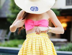pink bow bandeau bathing suit top + yellow gingham party skirt + monogram floppy hat // pool style