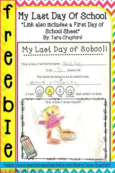 End of the year / last day of printable school - Pre-school Bethany Ford Pre School Graduation Ideas, Graduation Crafts, Preschool Graduation, Graduate School, First Day School, School Days, Back To School, School Stuff, My Last Day