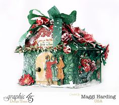 Love this gift box that looks like a Christmas cottage.  It's made from a Staples ATC gift box and A Christmas Carol collection.  Video tutorial link on Maggi's blog.