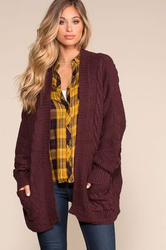 0910178c7e20f This Cozy Cable Oversized Cardigan Sweater in Burgundy is sure to keep you  warm this fall