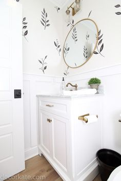 This little powder room was in desperate need of some personality. I've noticed wallpaper is making a comeback in a big way and I am loving the look! Powder Room Paint, Tiny Powder Rooms, Powder Room Wallpaper, Powder Room Decor, Powder Room Mirrors, Modern Farmhouse Powder Room, Half Bathroom Decor, Bathroom Small, Simple Bathroom