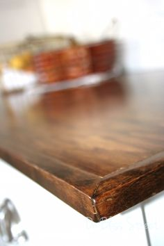 make your own beautiful wood countertops for under 200 countertops diy how to kitchen design kitchen island woodworking projects Diy Concrete Counter, Diy Wood Countertops, Kitchen Countertop Materials, Kitchen Cabinets, White Cabinets, Kitchen Backsplash, Wood Counter Tops Diy, Kitchen Island Countertop Ideas, Wooden Bathroom Countertop