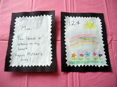 Cute Postage Stamp craft for Mother's Day!  #mothersday #kidscraft
