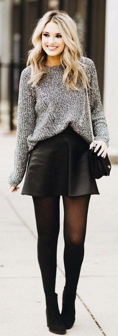 Grey Knit / Black Leather Skirt / Black Tights / Black Booties, Tap the  link now to see our super collection of accessories made just for you!