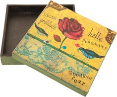 'Hello' Box - Hand-crafted in India  #wood #wooden #box #gift #handmade #fairtrade #flower #ethnic #bedroom #living #room #interiors #india #indian #gift #jewellery #rose #flower #bird