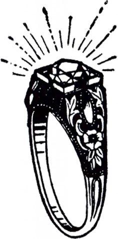 Vintage Diamond Ring Clip Art! - The Graphics Fairy