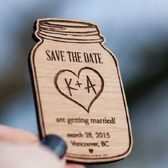 "Rustic theme mason jar shaped wood magnetic ""save the dates"" from StylineDesigns via etsy. #rustictheme #savethedate"