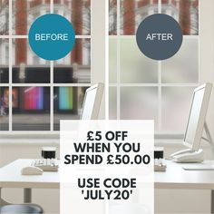 Get £5 OFF ALL Purlfrost products when you spend £50.00 or more. Check out our Static Frost Window Film perfect for your #WorkFromHome office. Offer valid until 31/07/20 Frosted Window Film, How To Remove, How To Apply, Static Cling, Make It Simple, Adhesive, Coding, Windows, Check