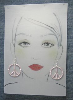 Sterling Silver Peace Earrings - Swarovski Crystals Baby Pink - #52811o47