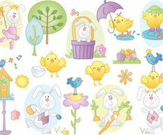 Make many different Easter cards using free Easter clip art, free Easter card embellishment print and cut files and Silhouette Studio software Vector Clipart, Vector Free, Vector Graphics, Easter Images Clip Art, Easter Cartoons, Cute Easter Bunny, Easter Pictures, Chicken Art, Digi Stamps