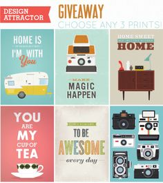 giveaway! enter to win 3 prints (your choice) from design attractor on going home to roost! ends 12/9.