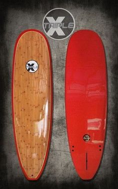 """New Triple X 7'6"""" Red Bamboo Epoxy Super Wide Surfboard"""