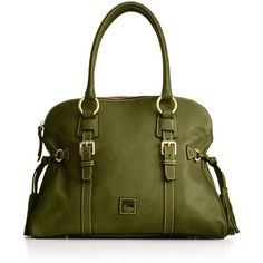 Dooney & Bourke Florentine Domed Buckle Satchel (23.815 RUB) ❤ liked on Polyvore featuring bags, handbags, purses, green, accessories, women, dome satchel handbag, purse satchel, dooney bourke purses and tassel purse