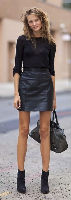 Street Style - Leather mini skirt