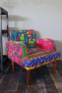 Neon floral patchwork on a chair, pretty cool.