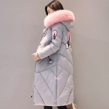 2017 high quality fur collar women long winter coat female warm wadded jacket womens outerwear parka casaco feminino inverno(China)