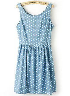 Blue Sleeveless Polka Dot Pleated Denim Dress - Fashion Clothing, Latest Street Fashion At Abaday.com