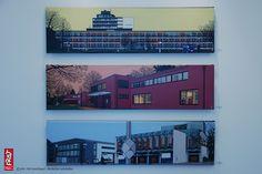 30 Theater Mediothek 31 Stadthaus  32 HausLange Haus Esters FineArtPrint Leinwand 145 x 39 cm