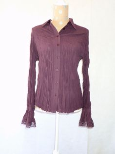 Womens APOSTROPHE Purple Long Sleeve Sheer Blouse Shirt Top Size Large L 14-16 #Apostrophe #Blouse #Career