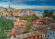 Carmen Pérez de Arce Recuerdo minucioso de la que fue su ciudad de Carmen Pérez de Arce... Valparaíso Acrílico. ORIGINAL aprox 120x 80 cms (pintura original, inspirada en fotografía)