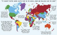This map of the world, explained with Karl Pilkington quotes. | 12 Maps Only British People Will Find Funny