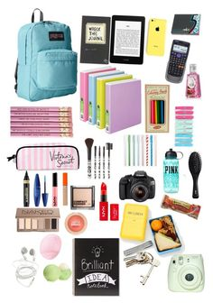 """""""whats inside my backpack ☻"""" by ki-kaa ❤ liked on Polyvore"""