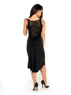 draped back tango dress