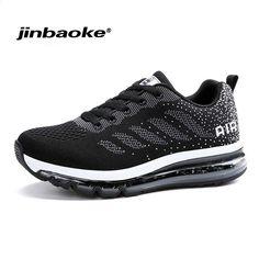 low priced 11edb b37da JINBAOK Air Push Løbesko Pustende Komfortabel Sneakers Mænd Jogging Sports  Sneakers til Outdoor Walking Sko Størrelse39-44