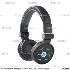 Maximize your music experience and stand out with your own personalized quality headphones. Customize these modern black and blue hexagon glow pattern headphones by easily changing the monogram letter to make it yours. #Electronics #Accessories
