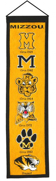 Decorate your office or game room with a wool banner that tracks the evolution of a team mascot and logos over the years. Each banner is constructed with applique and. Miss Missouri, Missouri Tigers, Victoria Secret Website, Fight Tiger, Banner, Team Mascots, Popular Pins, Flag, Wool