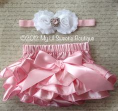 White and pink Satin Bloomer Set- Headband and Bloomers- Newborn Outfit - Baby Girl Outfit - infant- cake smash- Photo Prop- Easter Outfit. $26.95, via Etsy.