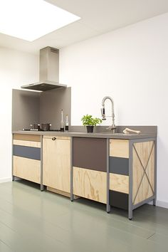 Constructive Kitchen is a minimalist design created by Netherlands-based design firm Studio Mieke Meijer. The sincere and constructive use of honest materials gives the kitchen a rugged and tough appearance. The Forbo-sponsored project features a kitchen with industrial aesthetics utilizing a juxtaposition of metals and woods. (2)