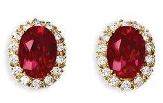 Ruby Earrings – Yellow Gold Ruby Stud Earrings Exporter from Jaipur 5mm-ruby-gemstone-and-28ctw-diamond-martini-stud-earrings