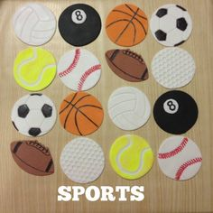 Edible Sports Balls Cupcake Toppers! #Netball, #Poolball, #Basketball, #Soccerball, #Tennisball, #Softball, #Football, #Golfball. www.facebook.com/EASYCAKEFUN