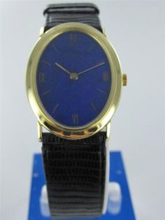 LADIES 14KT YELLOW GOLD PIAGET WINDING WATCH WITH DIAL & LEATHER BAND   $1,695.00  LAPIS