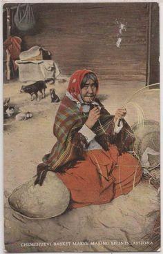 "Arizona Native Americana Postcard ""Chemehuevi Basket Maker Making Splints"" 1920"
