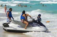 jet ski fun: Having fun on jet ski at the Caribbian sea.