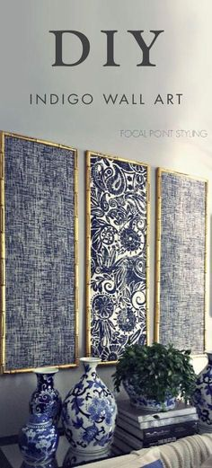 DIY Indigo Wall Art With Framed Fabric,Don't you just love it when decor speaks to your personal style? Add this DIY indigo wall art with framed fabric to your living room for an easy homem. Fabric Wall Art, Diy Wall Art, Framed Wall Art, Fabric On Walls, Diy Wand, Arte Shiva, Indigo Walls, Cuadros Diy, Metal Tree Wall Art