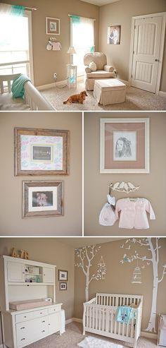 neutral nursery w/ pink and aqua