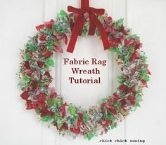 chick chick sewing: Fabric rag wreath tutorial 布リース作りかた