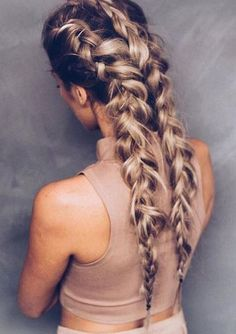 17 Chic Double Braided Hairstyles: #14. Chic Double Braids for Long Hair