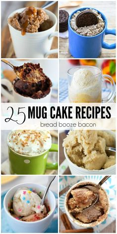 25 Mug Cake Recipes Dessert is my favorite course in any meal, but I don't need an entire cake staring me down after I bake. That's why I love the 25 Mug Cake Recipes. They're the prefect little, single serving dessert for any occasion. Microwave Mug Recipes, Mug Cake Microwave, Microwave Desserts, Microwave Breakfast, Single Serve Desserts, Single Serving Recipes, Single Serve Cake, Sweet Recipes, Cake Recipes