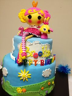 """Lalaloopsy cake....love the name plate and the """"stitching"""" on the green"""