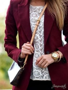 Berry Blazer With White Lace