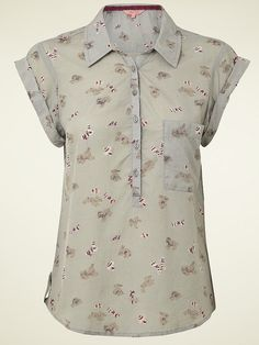 NEW White Stuff EDEN Grey Berry Rabbit Print Shirt Tunic Top Blouse 8 to 16