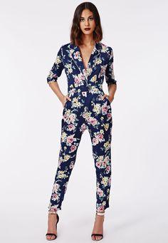 Linda Floral Pyjama Style Wrap Jumpsuit - Jumpsuits - Missguided
