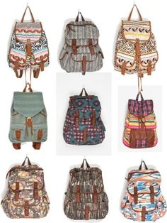 Cute backpackers that I want!!!! Found in payless, Victoria's secret, target and other backpack places.