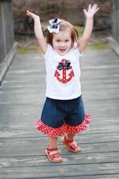 Girls Nautical Anchor Applique Shirt  Ruffle by GreenGooseGifts, $34.00
